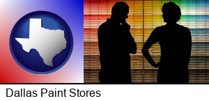 Dallas, Texas - a couple looking at paint samples at a paint store